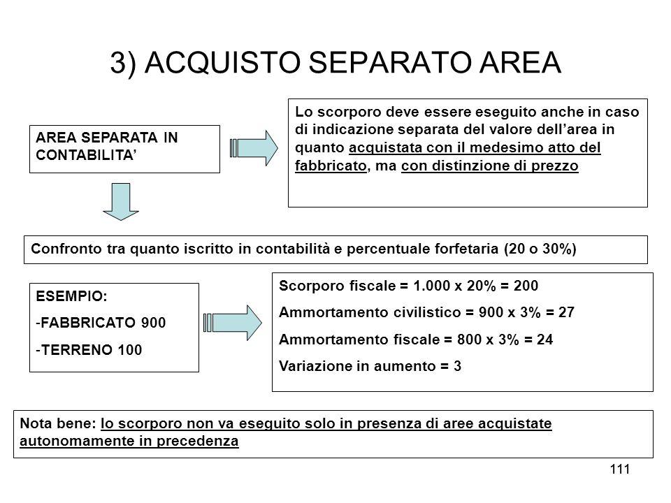 3) ACQUISTO SEPARATO AREA