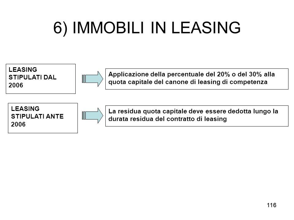 6) IMMOBILI IN LEASING LEASING STIPULATI DAL 2006