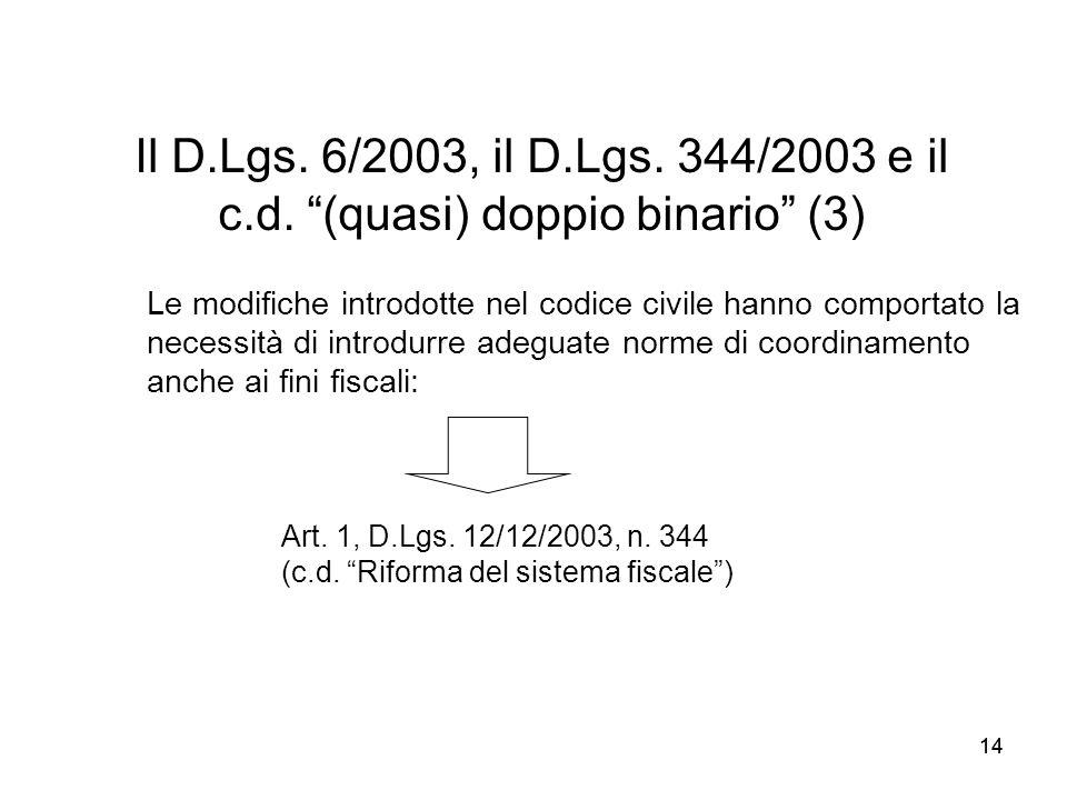 Il D.Lgs. 6/2003, il D.Lgs. 344/2003 e il c.d. (quasi) doppio binario (3)