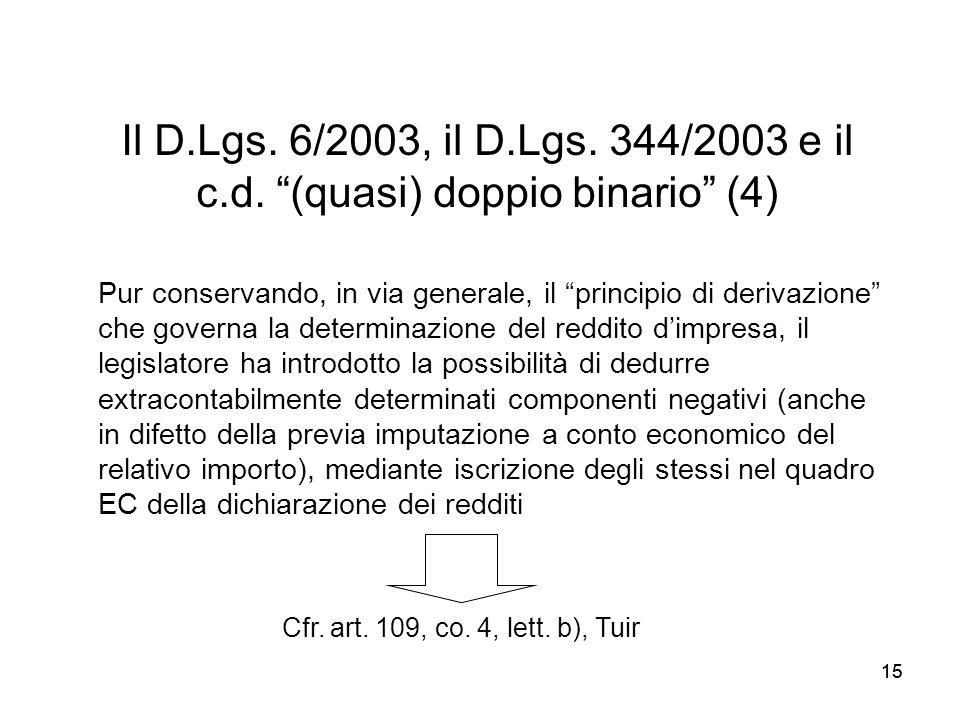 Il D.Lgs. 6/2003, il D.Lgs. 344/2003 e il c.d. (quasi) doppio binario (4)