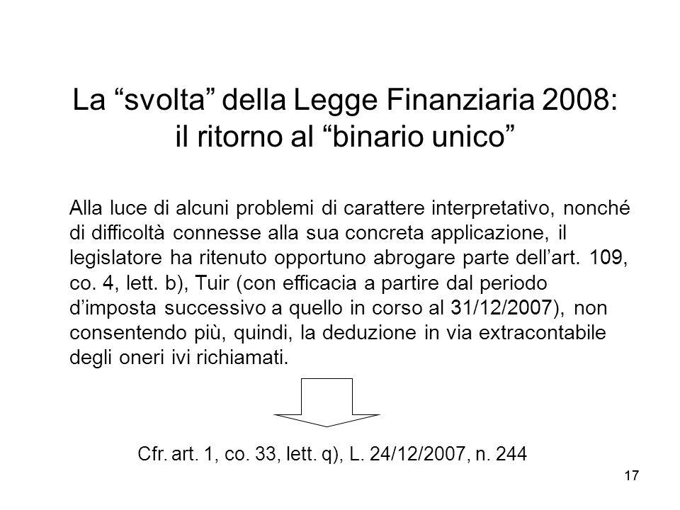 La svolta della Legge Finanziaria 2008: il ritorno al binario unico