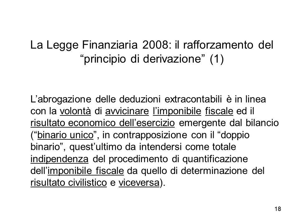 La Legge Finanziaria 2008: il rafforzamento del principio di derivazione (1)