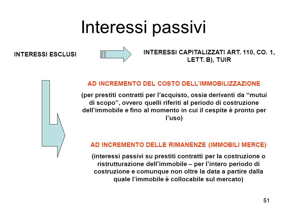 Interessi passivi INTERESSI CAPITALIZZATI ART. 110, CO. 1, LETT. B), TUIR. INTERESSI ESCLUSI. AD INCREMENTO DEL COSTO DELL'IMMOBILIZZAZIONE.
