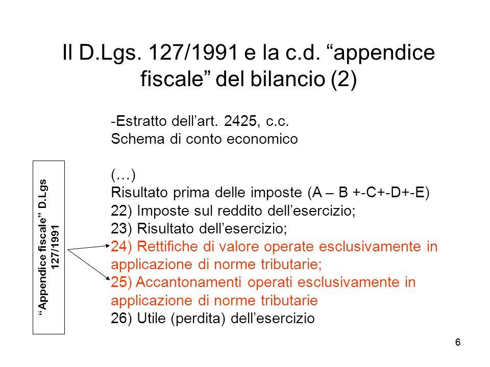 Il D.Lgs. 127/1991 e la c.d. appendice fiscale del bilancio (2)