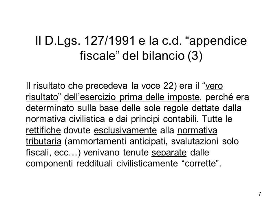 Il D.Lgs. 127/1991 e la c.d. appendice fiscale del bilancio (3)
