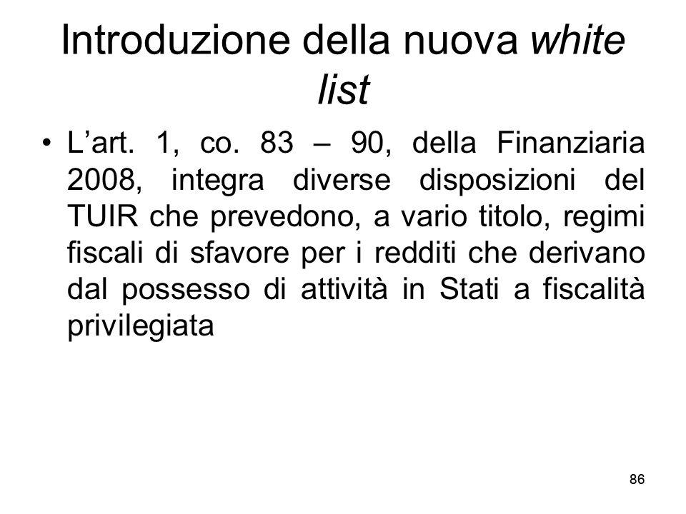 Introduzione della nuova white list