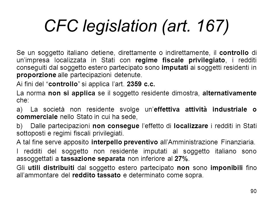 CFC legislation (art. 167)