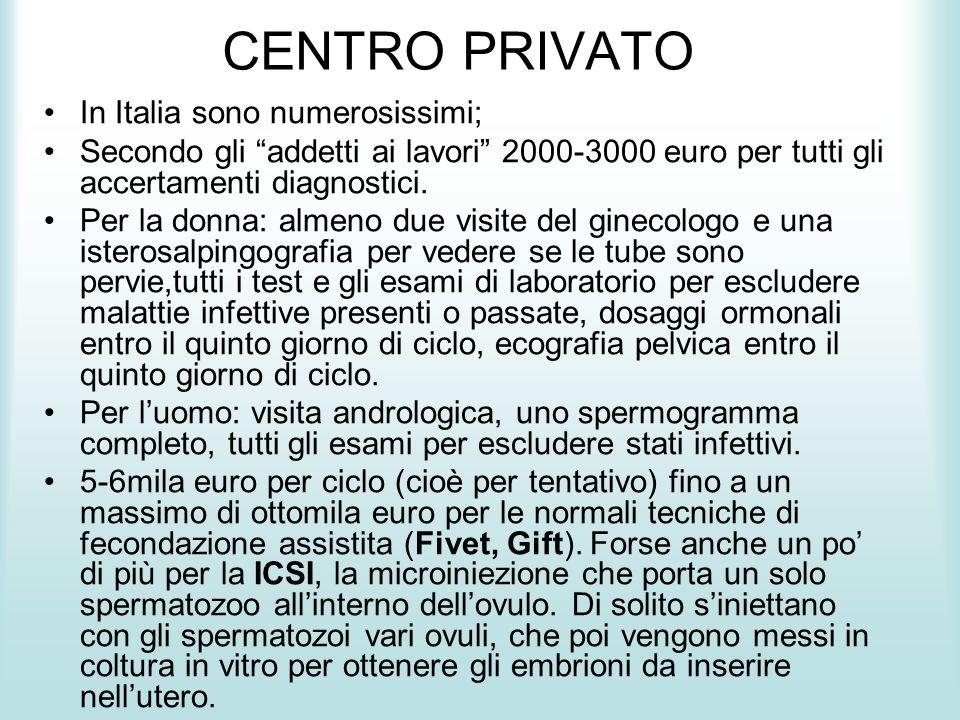 CENTRO PRIVATO In Italia sono numerosissimi;