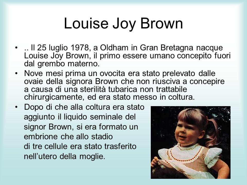 Louise Joy Brown .. Il 25 luglio 1978, a Oldham in Gran Bretagna nacque Louise Joy Brown, il primo essere umano concepito fuori dal grembo materno.