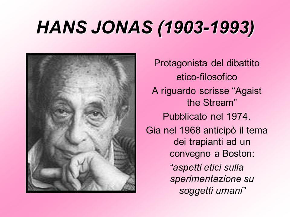 HANS JONAS (1903-1993) Protagonista del dibattito etico-filosofico