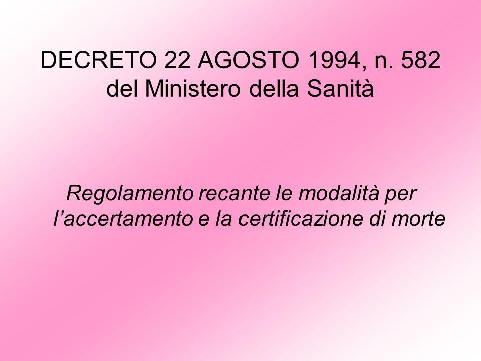 DECRETO 22 AGOSTO 1994, n. 582 del Ministero della Sanità