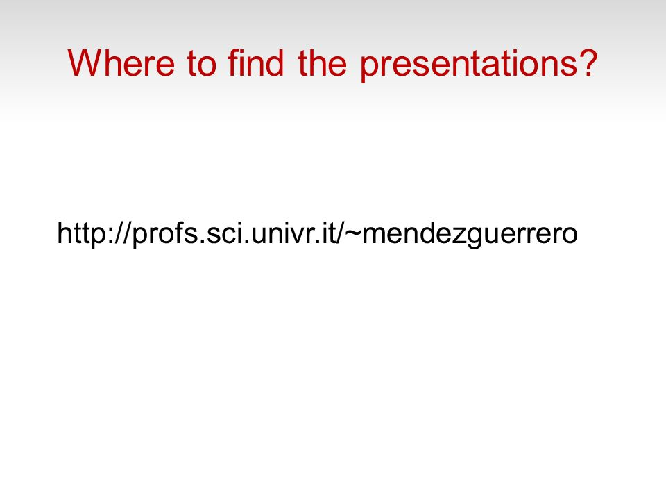 Where to find the presentations