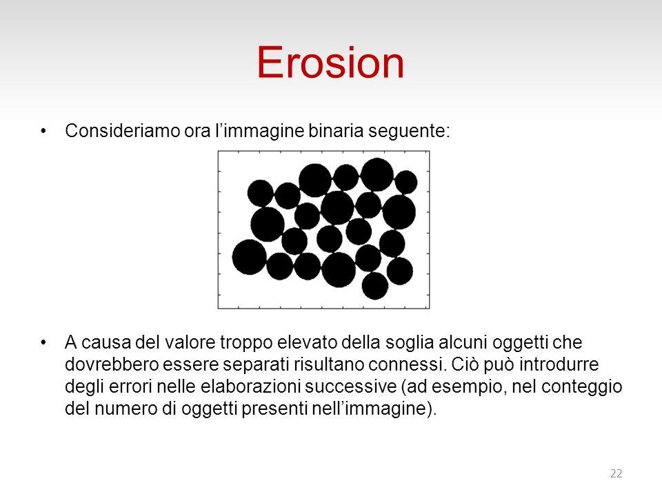 Erosion Consideriamo ora l'immagine binaria seguente:
