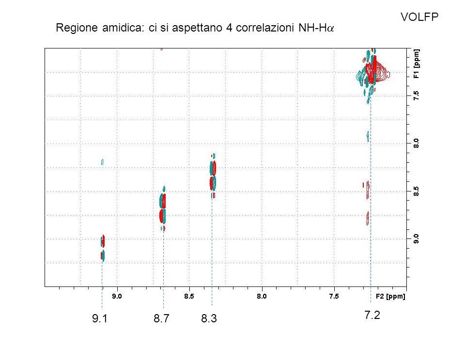 VOLFP Regione amidica: ci si aspettano 4 correlazioni NH-Ha 7.2 9.1 8.7 8.3