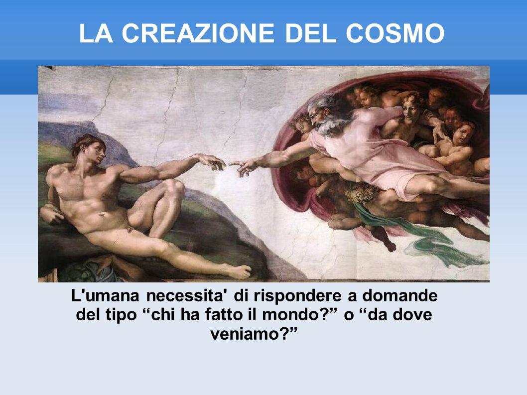 LA CREAZIONE DEL COSMO L umana necessita di rispondere a domande del tipo chi ha fatto il mondo o da dove veniamo