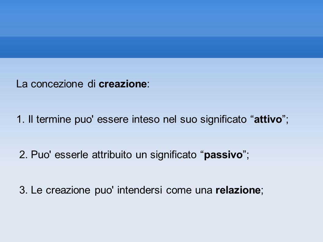 La concezione di creazione: