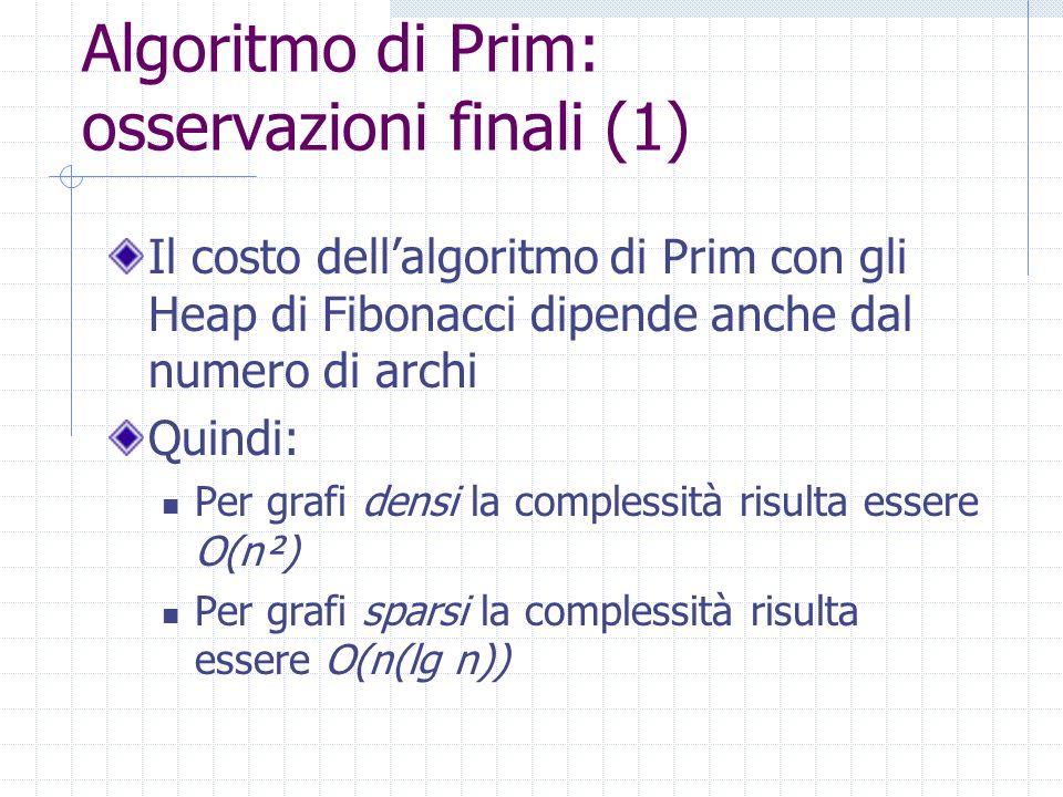 Algoritmo di Prim: osservazioni finali (1)