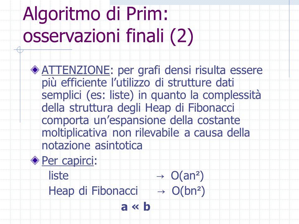 Algoritmo di Prim: osservazioni finali (2)