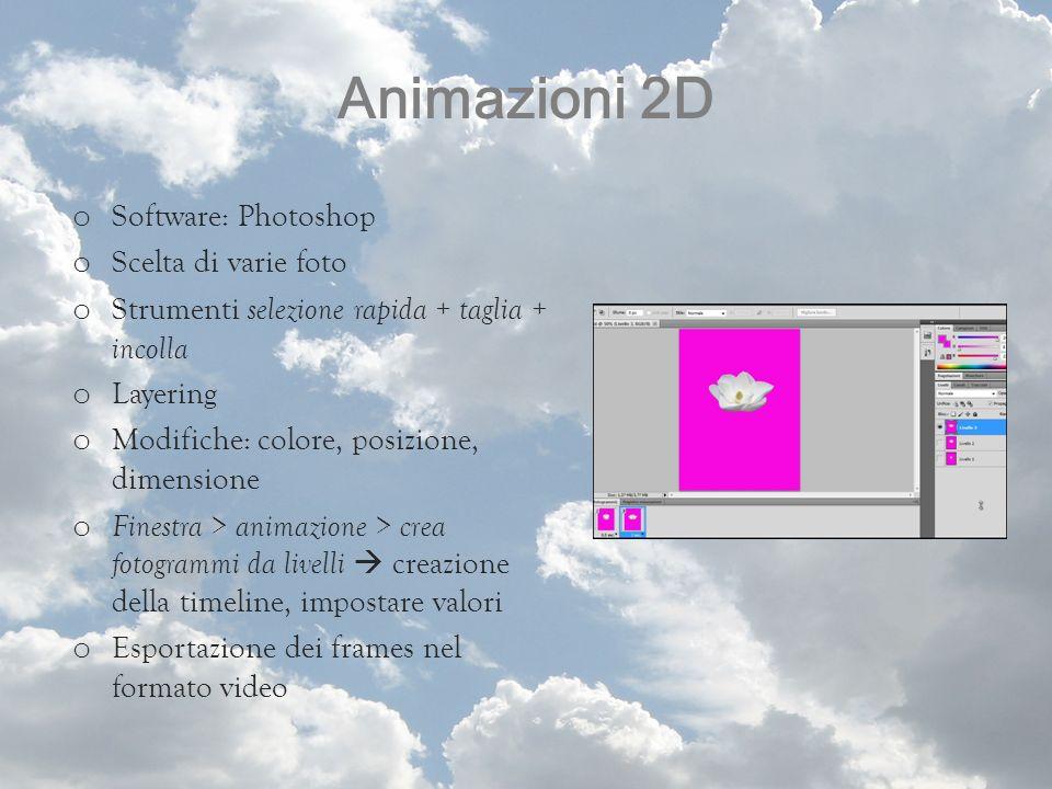 Animazioni 2D Software: Photoshop Scelta di varie foto