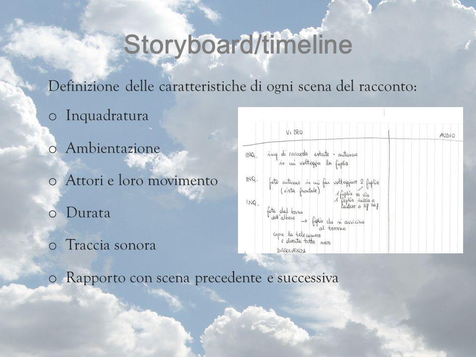 Storyboard/timeline Definizione delle caratteristiche di ogni scena del racconto: Inquadratura. Ambientazione.