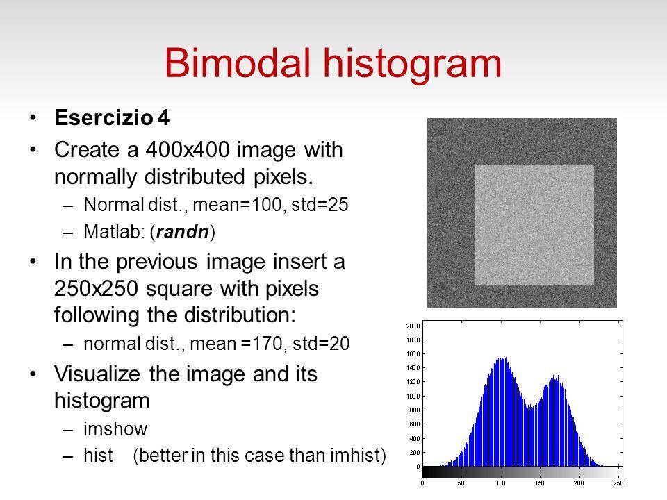 Bimodal histogram Esercizio 4