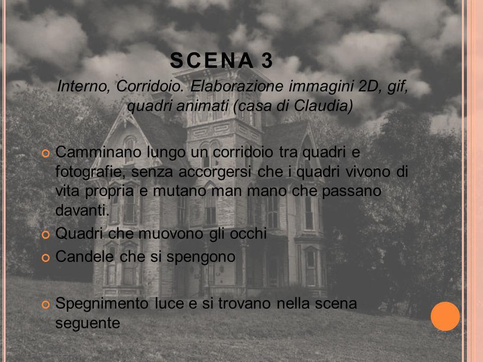 SCENA 3 Interno, Corridoio. Elaborazione immagini 2D, gif, quadri animati (casa di Claudia)