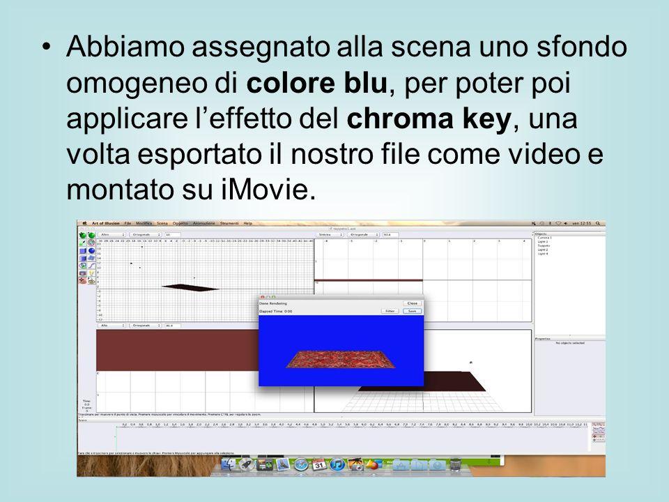 Abbiamo assegnato alla scena uno sfondo omogeneo di colore blu, per poter poi applicare l'effetto del chroma key, una volta esportato il nostro file come video e montato su iMovie.
