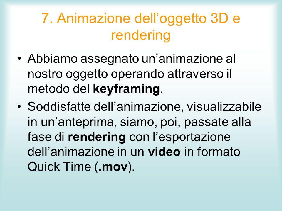 7. Animazione dell'oggetto 3D e rendering