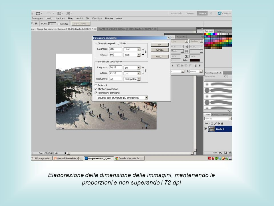 Elaborazione della dimensione delle immagini, mantenendo le proporzioni e non superando i 72 dpi