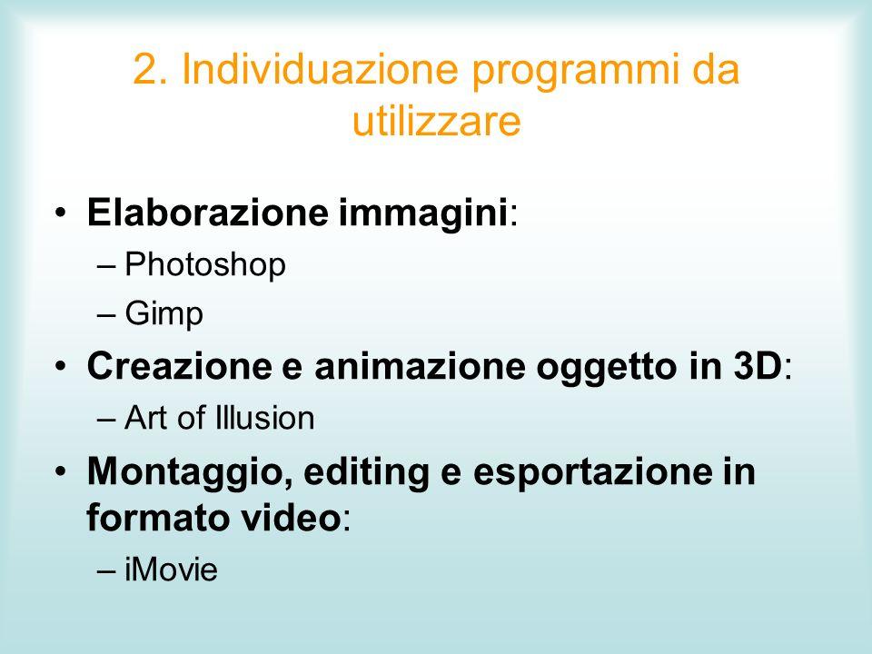2. Individuazione programmi da utilizzare