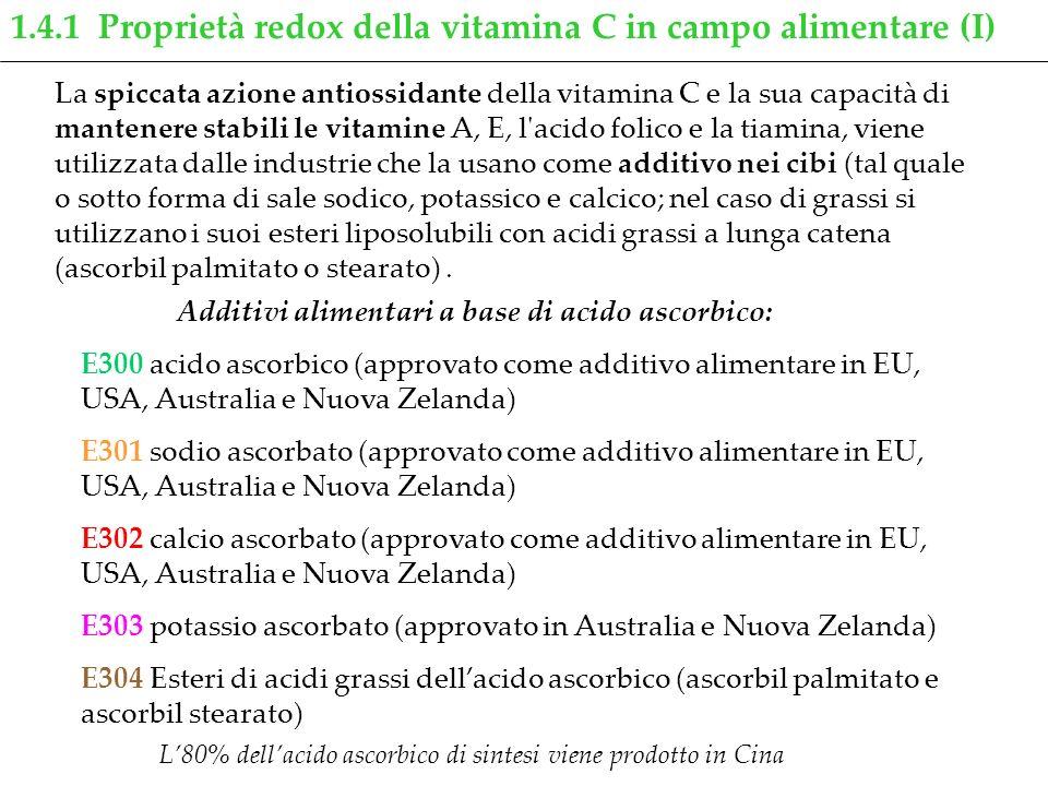 1.4.1 Proprietà redox della vitamina C in campo alimentare (I)