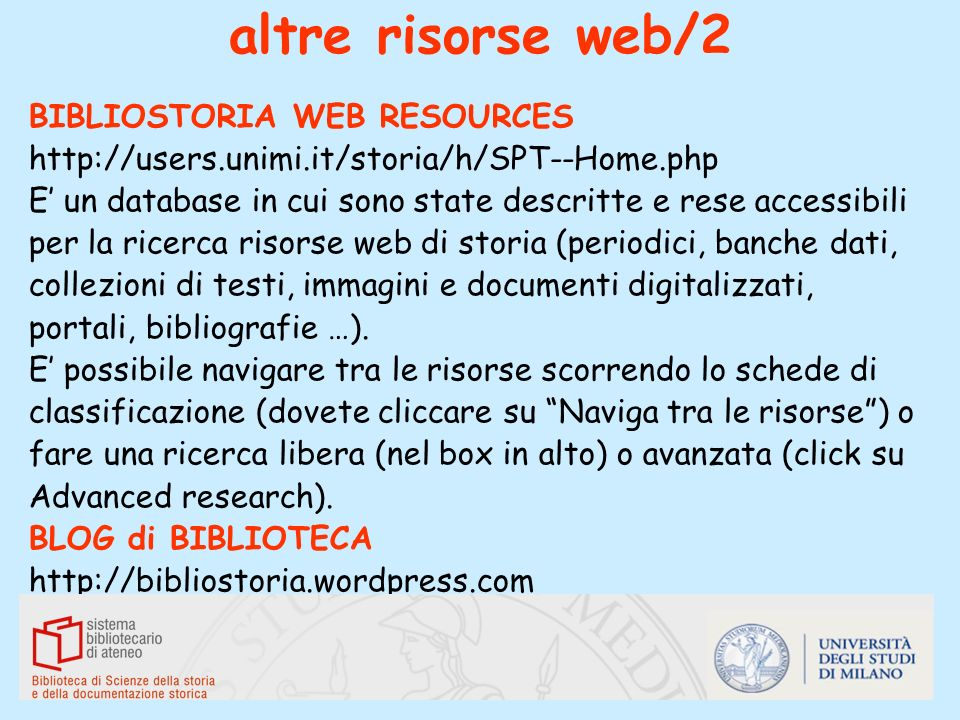 altre risorse web/2 BIBLIOSTORIA WEB RESOURCES