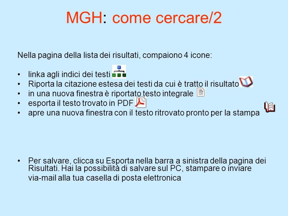 MGH: come cercare/2Nella pagina della lista dei risultati, compaiono 4 icone: linka agli indici dei testi.
