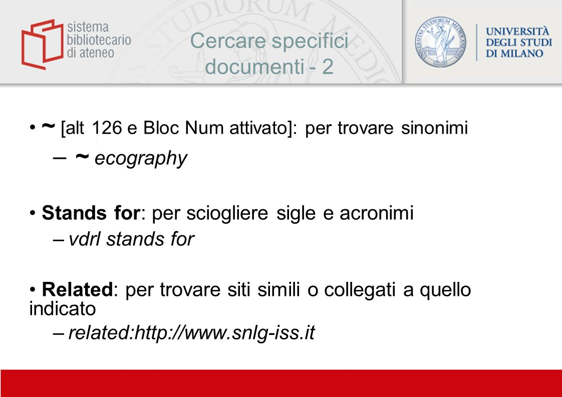 Cercare specifici documenti - 2
