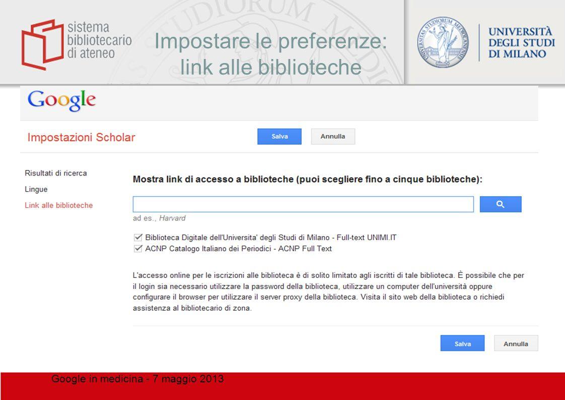 Impostare le preferenze: link alle biblioteche
