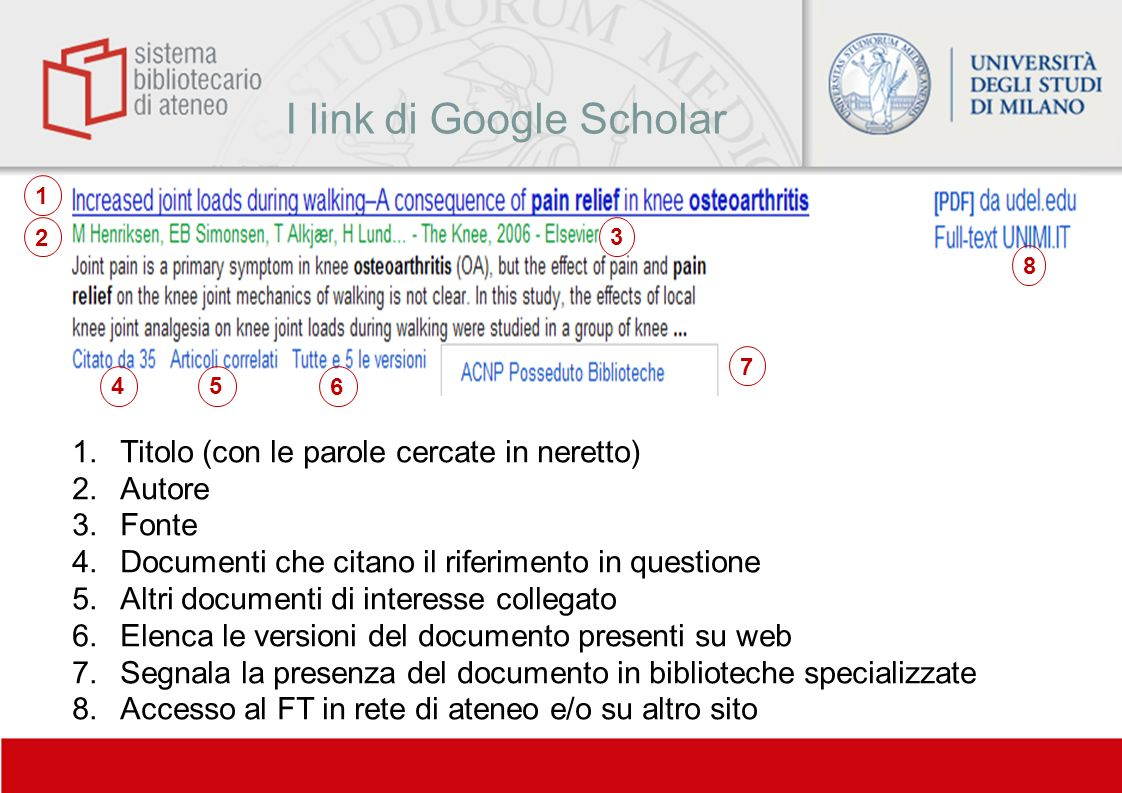 I link di Google Scholar