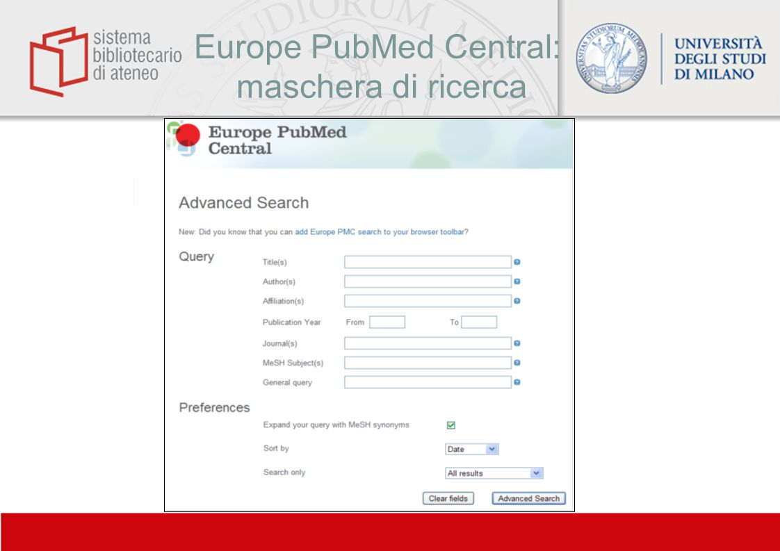Europe PubMed Central: maschera di ricerca