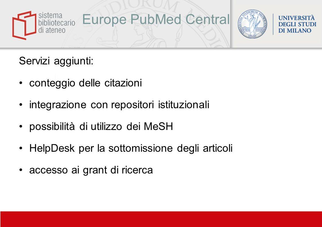 Europe PubMed Central Servizi aggiunti: conteggio delle citazioni