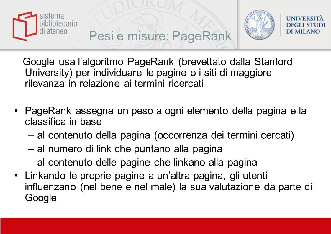 Pesi e misure: PageRank
