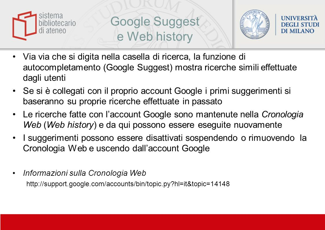 Google Suggest e Web history