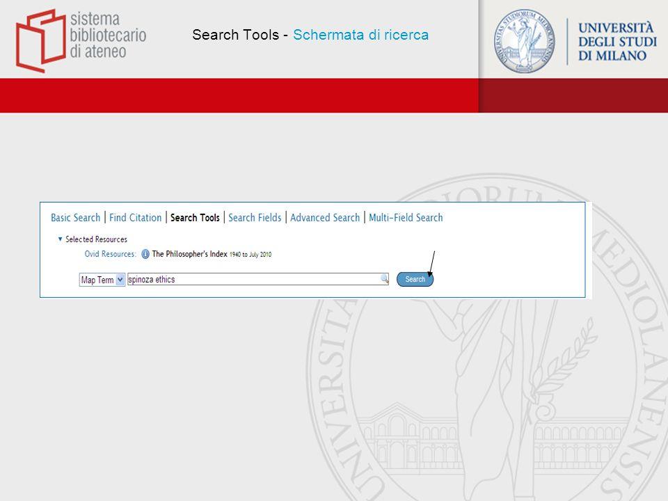 Search Tools - Schermata di ricerca