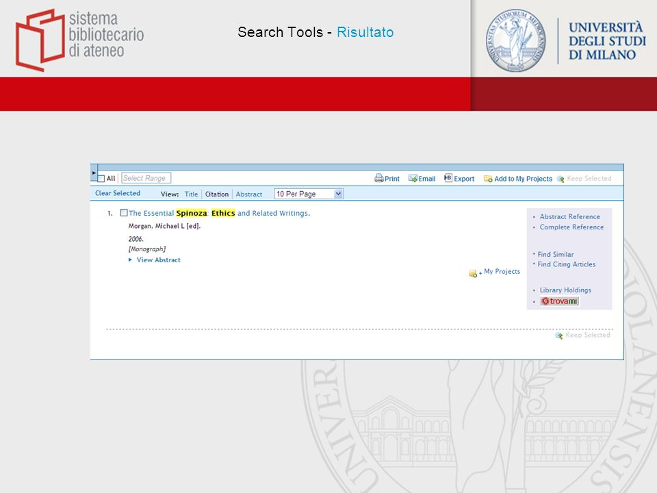 Search Tools - Risultato
