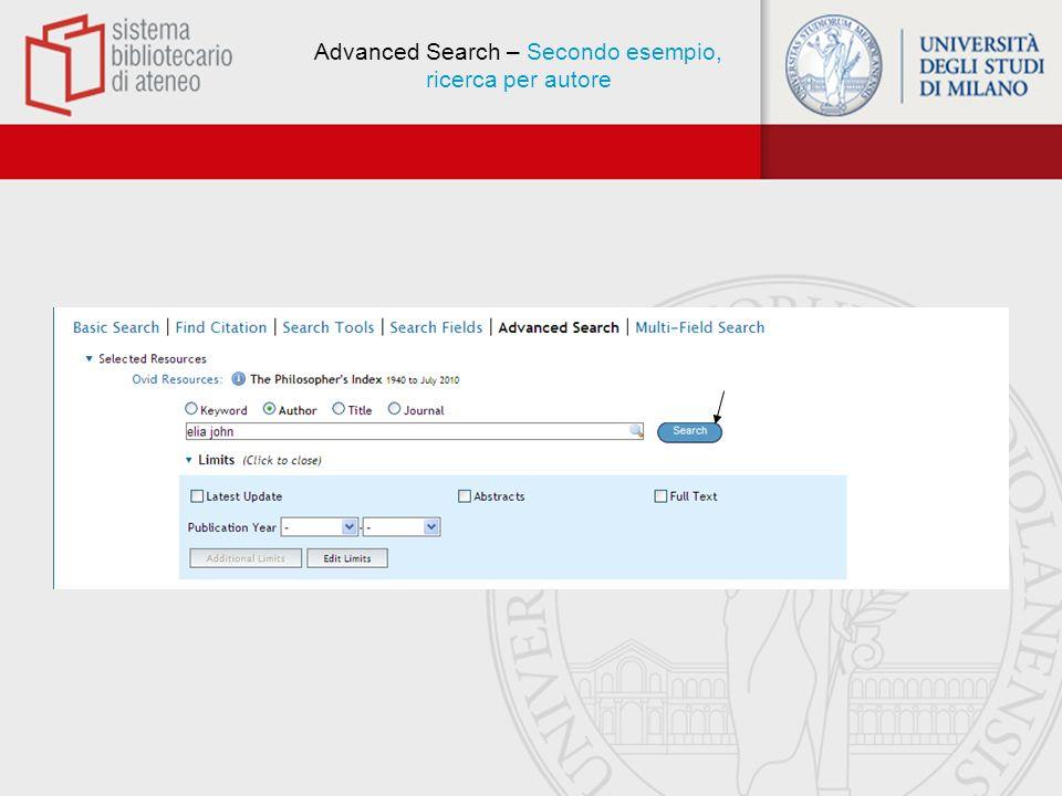 Advanced Search – Secondo esempio, ricerca per autore