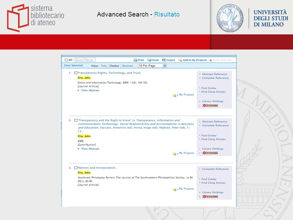 Advanced Search - Risultato