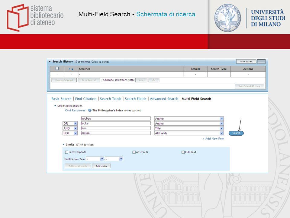 Multi-Field Search - Schermata di ricerca