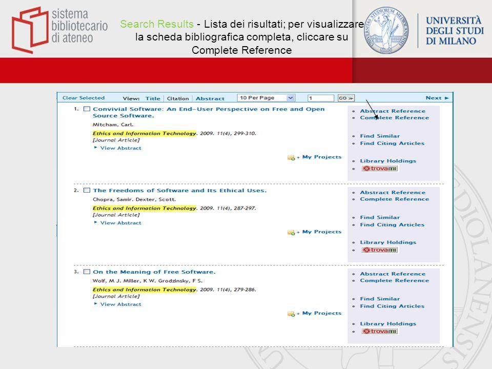 Search Results - Lista dei risultati; per visualizzare la scheda bibliografica completa, cliccare su Complete Reference