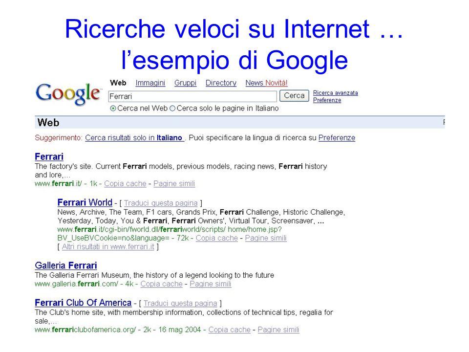 Ricerche veloci su Internet … l'esempio di Google