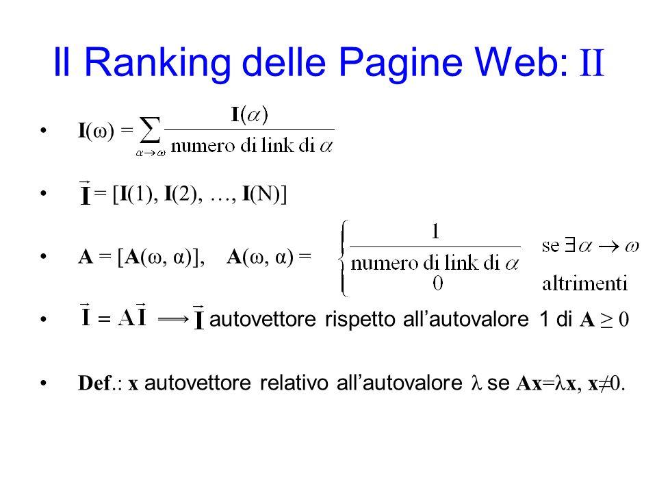 Il Ranking delle Pagine Web: II