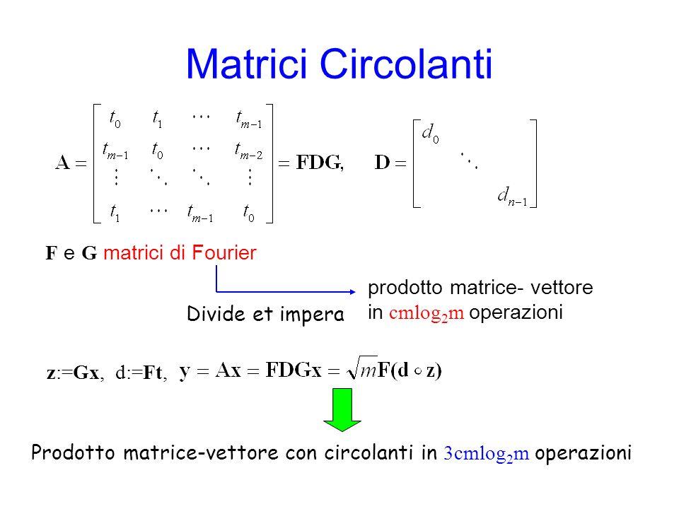 Matrici Circolanti F e G matrici di Fourier