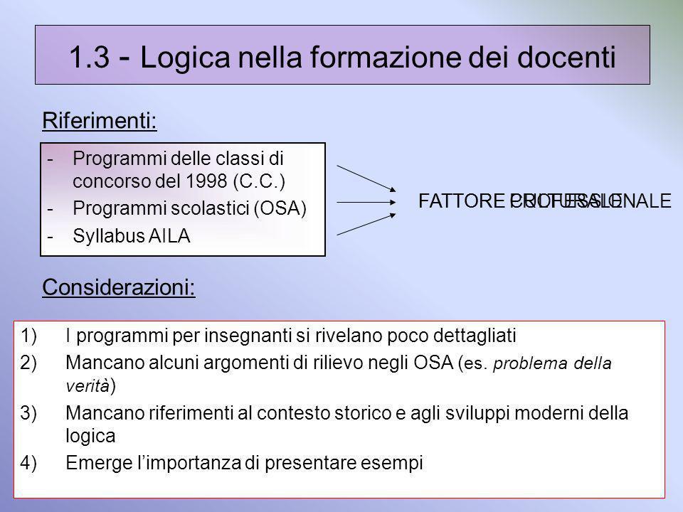 1.3 - Logica nella formazione dei docenti